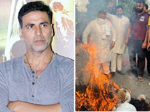 અક્ષય કુમારની ફિલ્મના ટાઇટલનો વિરોધ, અખિલ ભારતીય ક્ષત્રિય મહાસભાએ ડિરેક્ટર-પ્રોડ્યૂસરની સાથે એક્ટરનું પૂતળું સળગાવ્યું|બોલિવૂડ,Bollywood - Divya Bhaskar