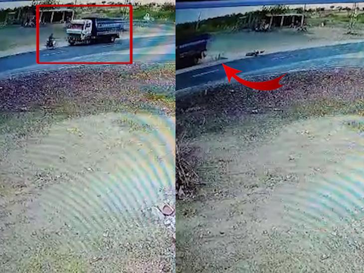 કાળમુખાં ડમ્પરે બાઈકચાલકને કચડ્યો, રોડ પર ચઢે એ પહેલાં જ મોતનો ભેટો, જુઓ શૉકિંગ CCTV ફૂટેજ ઈન્ડિયા,National - Divya Bhaskar