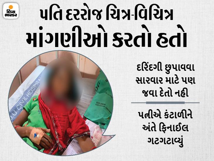 રાજકોટમાં દારૂ પી પતિ પત્નીના ગુપ્તભાગે બચકા ભરી શારીરિક સંબંધ બાંધતો, અંતે કહ્યું 'તારી સાથે હવે મજા નથી આવતી', પતિની ધરપકડ|રાજકોટ,Rajkot - Divya Bhaskar