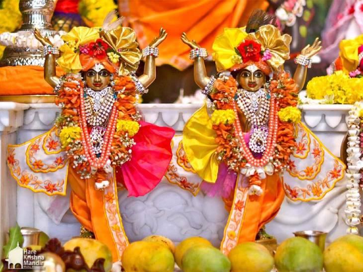હરેકૃષ્ણ મંદિર ભાડજ ખાતે ઉજવણી કરવામાં આવી - Divya Bhaskar