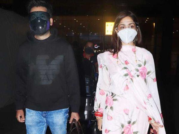 યામી ગૌતમ પતિ આદિત્ય ધરની સાથે એરપોર્ટ પર જોવા મળી, તેને હાથમાં લાલ ચૂડો અને પગમાં પાયલ પહેરી હતી|બોલિવૂડ,Bollywood - Divya Bhaskar