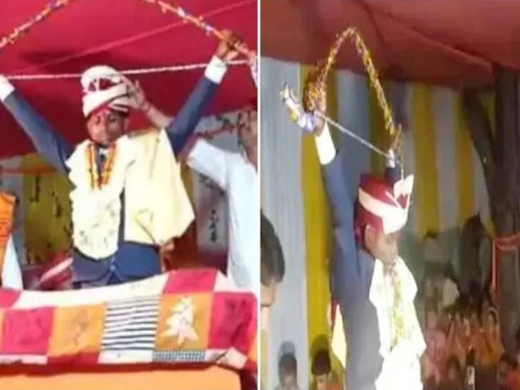 બિહારમાં વરરાજાએ ધનૂષ તોડીને દૂલ્હન સાથે ફેરા લીધા, અનોખા લગ્ન જોવા લોકો ઉમટ્યા ઈન્ડિયા,National - Divya Bhaskar