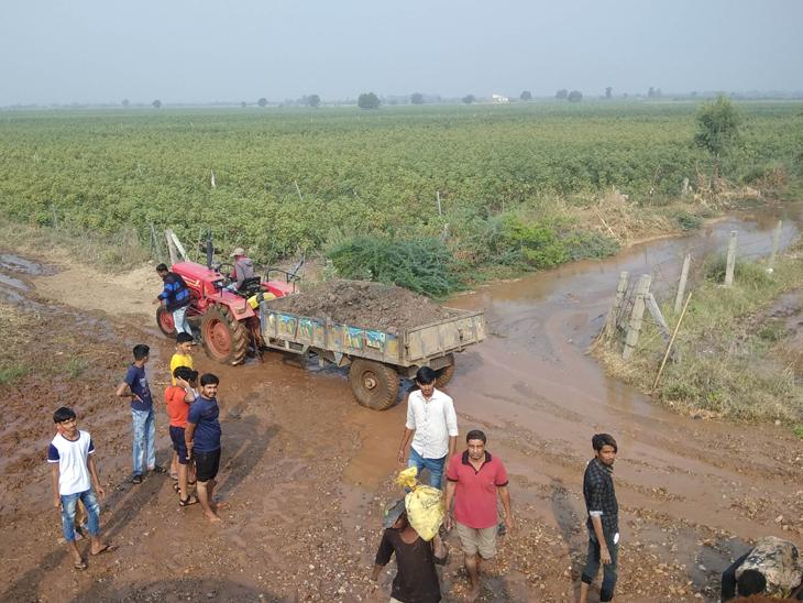 વઢવાણના રાજપર રોડ બનાવવા માટે ખેડૂતોએ શ્રમયજ્ઞ શરૂ કરીને રસ્તો સાફ કર્યો હતો. - Divya Bhaskar
