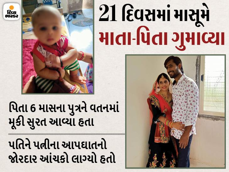 આપઘાત કરી મોતને વહાલું કરનારી પત્નીના મૃત્યુના 21મા દિવસે સુરતમાં પતિનું છાતીમાં દુખાવા બાદ મોત, 6 મહિનાનો પુત્ર નોધારો|સુરત,Surat - Divya Bhaskar
