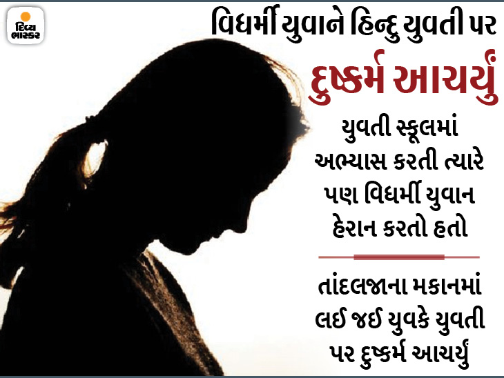 વડોદરામાં વિધર્મી યુવાને લગ્નની લાલચ આપી હિન્દુ યુવતી પર દુષ્કર્મ આચર્યુ, યુવાન કહેતો કે, 'બુરખો પહેરીને મુસ્લિમ ધર્મ અંગીકાર કરવો પડશે'|વડોદરા,Vadodara - Divya Bhaskar