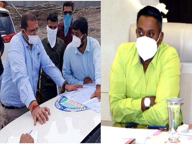 મ્યુનિ. કમિશનર અમિત અરોરા (ડાબી તરફ) અને કલેકટર અરૂણ મહેશ બાબુ (જમણી તરફ) - Divya Bhaskar