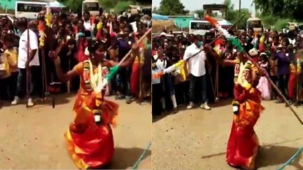 દુલ્હન લગ્નની સાડીમાં જ માર્શલ આર્ટ કરવા લાગી, જાનૈયાઓ જોઈને આશ્ચર્યચકિત થઈ ગયા|લાઇફસ્ટાઇલ,Lifestyle - Divya Bhaskar