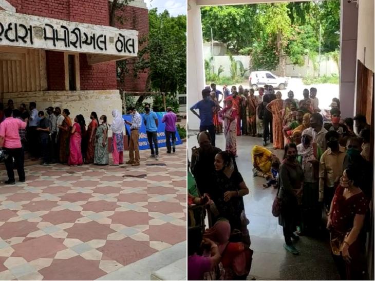 અમદાવાદમાં વિકેન્ડમાં વેક્સિનેશન સેન્ટર પર લોકોની ભીડ ઉમટી, વેક્સિન હોવા છતાં અવ્યવસ્થાને લીધે 1-2 કલાક લાઈનમાં ઊભા રહેવું પડ્યું|અમદાવાદ,Ahmedabad - Divya Bhaskar