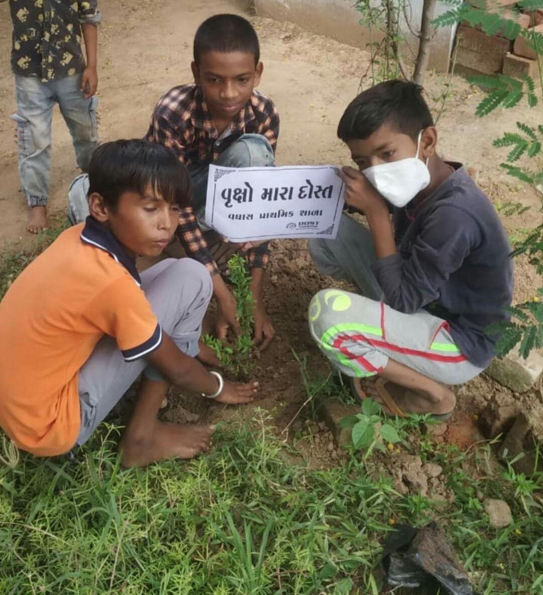 """""""વૃક્ષ મારા દોસ્ત"""" હેઠળ બાળકોએ હોંશે હોંશે વૃક્ષારોપણ કર્યુ. - Divya Bhaskar"""