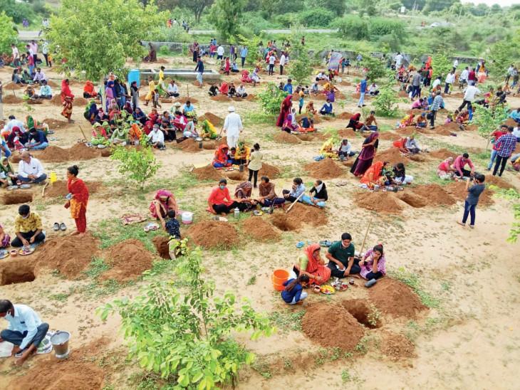 વૃક્ષારોપણ કરી રહેલા લોકોની તસવીર - Divya Bhaskar