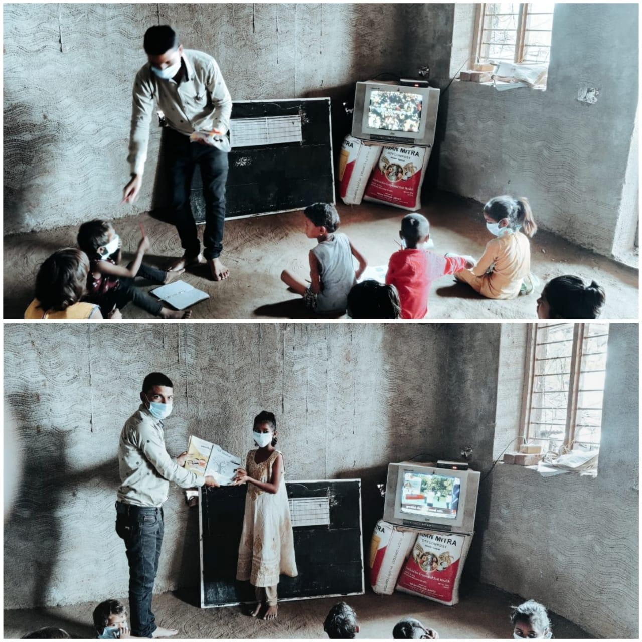 ડબલારા શાળાના શિક્ષક રવીન્દ્ર પ્રજાપતિ.