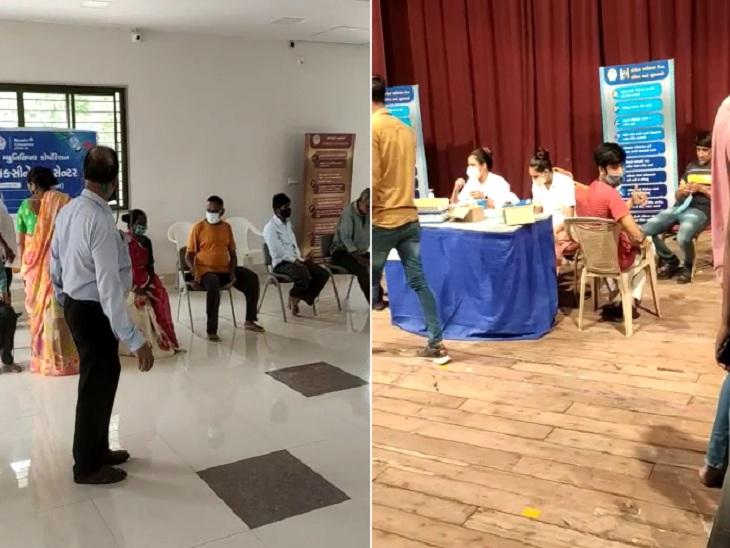 શાહપુરમાં 150થી વધારે લોકો વેક્સિન લેવા 1 કલાક લાઈનમાં રહ્યા