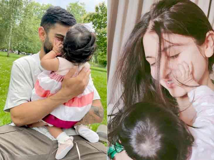 લંડનમાં અનુષ્કા શર્મા-વિરાટ કોહલીએ દીકરી વામિકાની નાનકડી ઝલક બતાવી, પાર્કમાં સેલિબ્રેશન કર્યું બોલિવૂડ,Bollywood - Divya Bhaskar