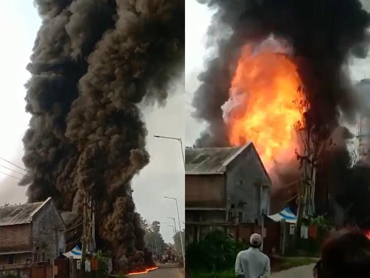 કાલોલ GIDCની ખાનગી કંપનીમાં ભીષણ આગ ફાટી નીકળી, ધડાકા થતાં કર્મચારીઓમાં અફરાતફરી મચી, 5 કિ.મી. દૂર સુધી ધૂમાડા દેખાયા|વડોદરા,Vadodara - Divya Bhaskar