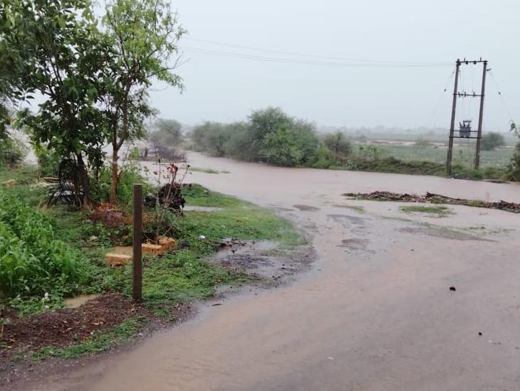 ખંભાળિયા પંથકમાં પરોઢિયે વરસેલા વરસાદના કારણે સીમના માર્ગો પર પાણી વહેતા થયા હતા. - Divya Bhaskar