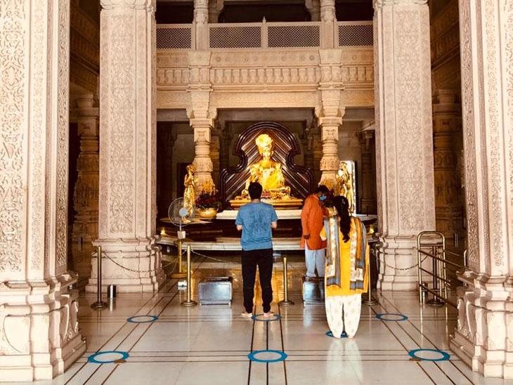95 દિવસ બાદ અક્ષરધામ મંદિર ખુલ્લું મુકાયું|ગાંધીનગર,Gandhinagar - Divya Bhaskar