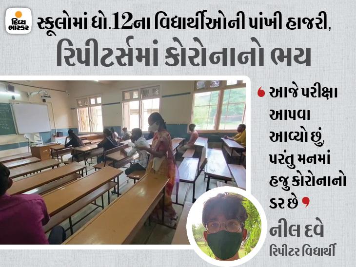 ધો.12ની સ્કૂલો અને રિપીટર્સની પરીક્ષા શરૂ, રિપીટર્સને કોરોનાનો ડર, નવા વિદ્યાર્થીઓમાં ભારે ઉત્સાહ|અમદાવાદ,Ahmedabad - Divya Bhaskar