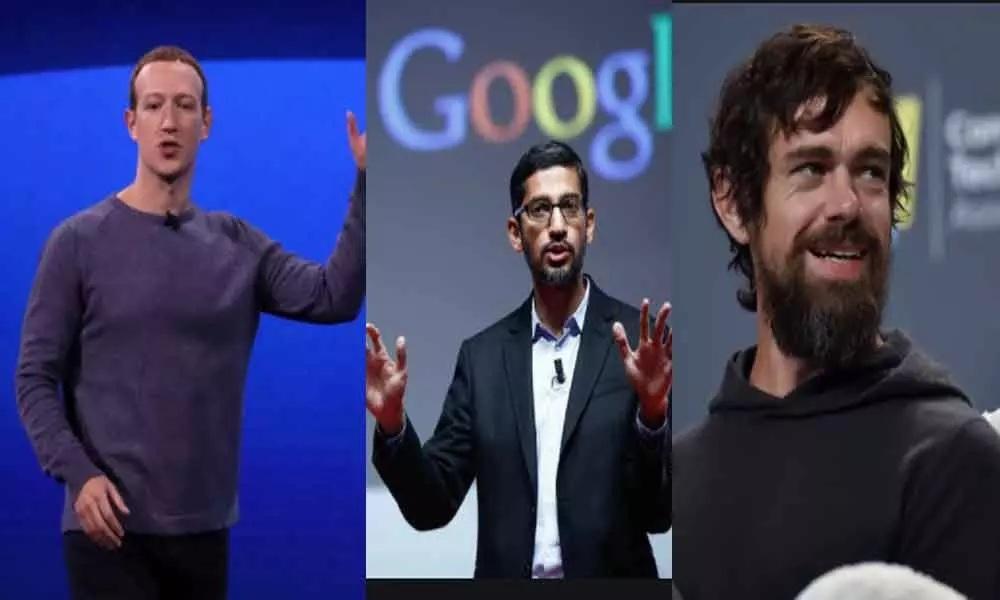 अमेरिकी कांग्रेस में फेसबुक के सीईओ मार्क जुकरबर्ग, गूगल के सीईओ सुंदर पिचाई और ट्विटर के सीईओ जैक डोर्सी से पूछताछ की गई।