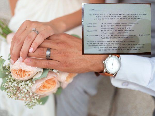લગ્નમાં હાજર થનાર મહેમાનોને કેવું ભોજન પીરસાશે તે આપેલી ગિફ્ટની કિંમત પ્રમાણે નક્કી થશે, ઈન્ટરનેટ પર ગિફ્ટની કેટેગરી સાથેનું વેડિંગ ઈન્વિટેશન વાઈરલ|લાઇફસ્ટાઇલ,Lifestyle - Divya Bhaskar