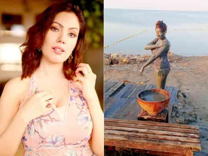 મુનમુન દત્તાએ લેપર્ડ પ્રિન્ટનો સ્વિમસૂટ પહેરીને મડ બાથ એન્જોય કર્યો|ટીવી,TV - Divya Bhaskar