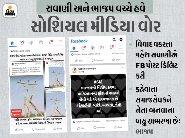AAP નેતા મહેશ સવાણીએ FB પર વૃક્ષનો વીજપોલ મુકી ગુજરાત મોડલ બતાવ્યું, ભાજપે કહ્યું-ગુજરાતને બદનામ કરવા પાકિસ્તાનની તસવીર મુકી|સુરત,Surat - Divya Bhaskar