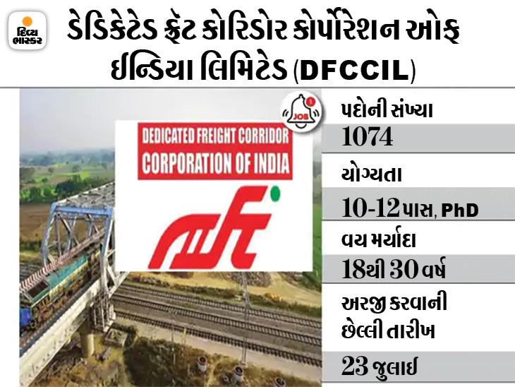 DFCCILના જુનિયર મેનેજર સહિતના પદો પર અરજી કરવા માટે ગણતરીના દિવસો બાકી, 23 જુલાઈ સુધી અરજી કરી શકાશે|યુટિલિટી,Utility - Divya Bhaskar