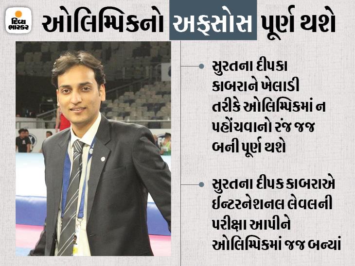 ખેલાડી તરીકે દેશ લેવલની સ્પર્ધામાં કાંઠુ કાઢનાર દીપક કાબરા ટોક્યો ઓલિમ્પિકમાં જજ બન્યાં છે. - Divya Bhaskar