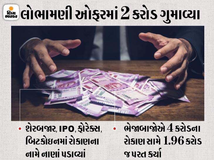 વડોદરામાં વેપારીએ 25 ટકા રિટર્ન મેળવવાની લાલચમાં 2 કરોડ ગુમાવ્યા, શેરબજાર, બિટકોઇન, IPOમાં રોકાણના નામે 12 ભેજાબાજોએ છેતરપિંડી કરી|વડોદરા,Vadodara - Divya Bhaskar