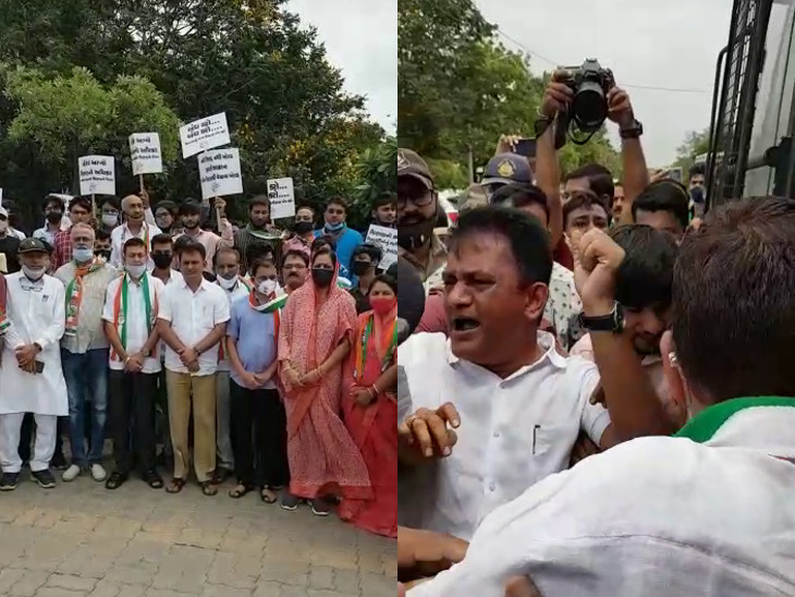 ભાજપની સુશાસન સપ્તાહની ઉજવણી સામે વિપક્ષ નેતાનો સૌ.યુનિ.માં વિરોધ, પરેશ ધાનાણી-પોલીસ વચ્ચે ઝપાઝપી, 10ની અટકાયત રાજકોટ,Rajkot - Divya Bhaskar