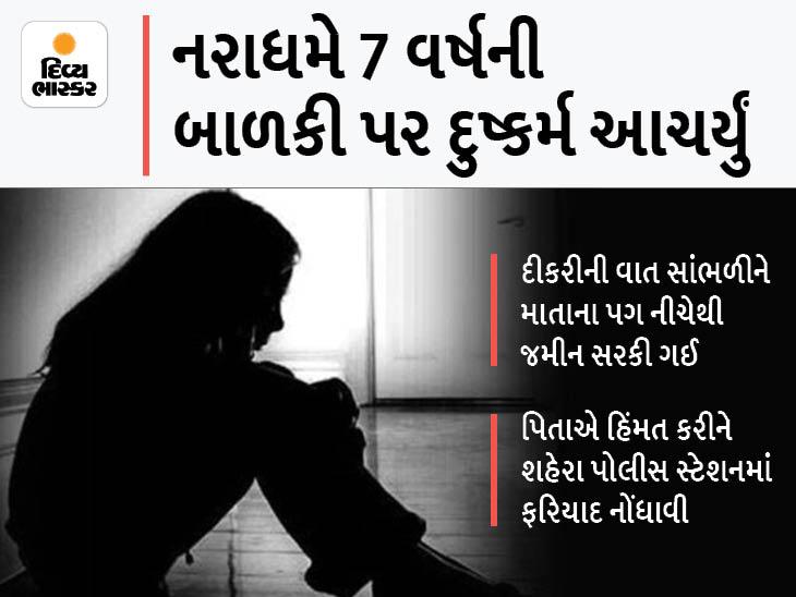 શહેરામાં 24 વર્ષના કુટુંબી પિતરાઇએ 7 વર્ષની બહેન પર દુષ્કર્મ આચર્યુ, 3 દિવસ રક્તસ્ત્રાવ થયો, ધ્રુજતા ધ્રુજતા માતા સમક્ષ કેફિયત રજૂ કરી વડોદરા,Vadodara - Divya Bhaskar