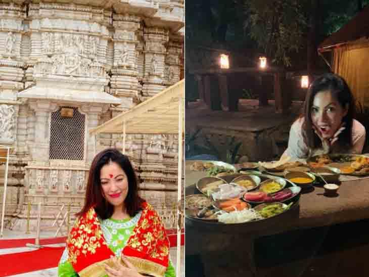 મુનમુન દત્તાએ મા અંબાના ચરણોમાં શીશ ઝૂકાવ્યું, અમદાવાદમાં ગુજરાતી થાળીનો આસ્વાદ માણ્યો ટીવી,TV - Divya Bhaskar