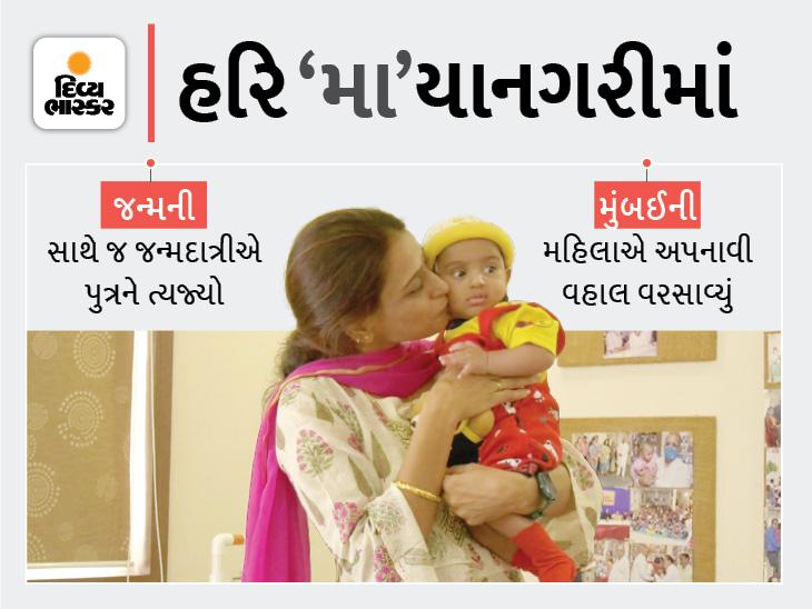 રાજકોટ બાલાશ્રમમાં પારણામાં નિષ્ઠુર માતાએ જન્મની સાથે 'હરિ'ને તરછોડ્યો, મુંબઈની મહિલાએ દત્તક લીધો, સિંગલ મધર બની માતા-પિતાની હૂંફ આપશે|રાજકોટ,Rajkot - Divya Bhaskar