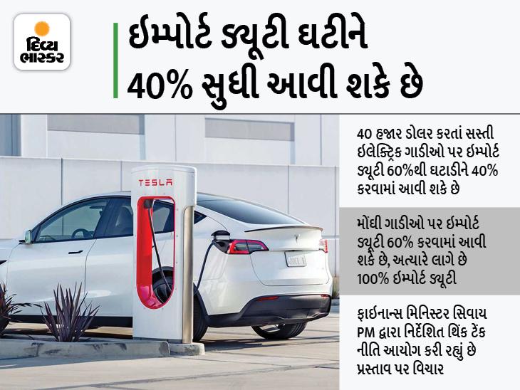 સરકાર ઇમ્પોર્ટ ડ્યૂટી ઘટાડવા પર વિચાર કરી રહી છે, ઇલેક્ટ્રિક ગાડીઓ હવે વિદેશથી મંગાવવી સસ્તી પડશે|ઓટોમોબાઈલ,Automobile - Divya Bhaskar