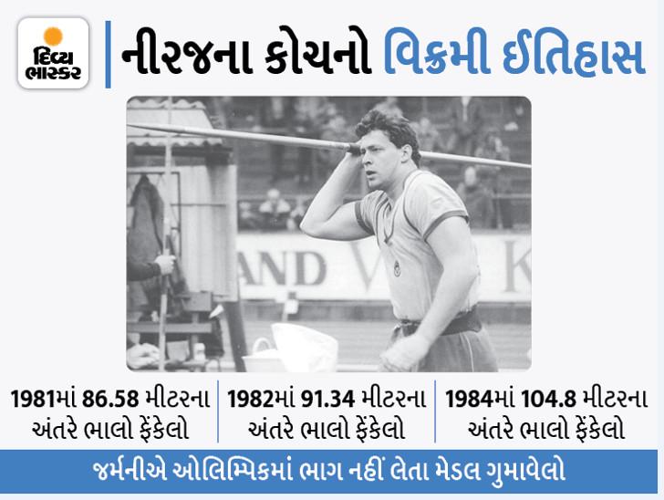 નીરજ ચોપરાના જર્મન કોચે ભાલા ફેંકમાં 104.8 મીટરનો વિશ્વ વિક્રમ બનાવેલો, પણ ગોલ્ડ મેડલથી વંચિત રહેલા સ્પોર્ટ્સ,Sports - Divya Bhaskar