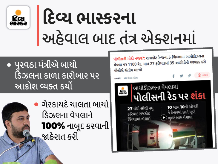 'બાયોડીઝલ નાબૂદ કરવા પોલીસ સાથે સંકલન કરી મોટાપાયે દરોડા પાડવામાં આવશે': જયેશ રાદડીયા|રાજકોટ,Rajkot - Divya Bhaskar