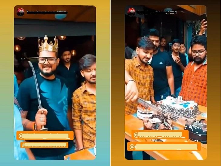 અમદાવાદમાં ABVPના કાર્યકરોએ GLS કોલેજ બહાર જાહેરમાં તલવારથી કેક કાપીને બર્થડે ઉજવ્યો, તલવાર બાજી પણ કરી|અમદાવાદ,Ahmedabad - Divya Bhaskar
