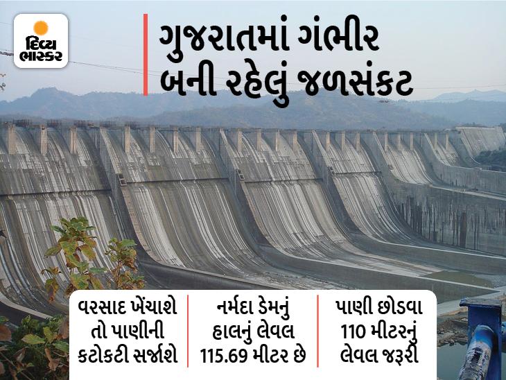 જો હજુ પાંચ દિવસ વરસાદ ખેંચાશે તો ગંભીર જળસંકટ ઊભું થશે, નર્મદા ડેમમાંથી રાજ્યને ઓગસ્ટના અંત સુધી જ સિંચાઈનું પાણી મળશે|અમદાવાદ,Ahmedabad - Divya Bhaskar
