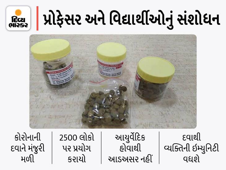 ગુજરાત યુનિવર્સિટી દ્વારા સંશોધન કરીને બનાવવામાં આવેલી આયુર્વેદિક ઇમ્યુરાઇઝ દવાને ICMRની મંજૂરી મળી|અમદાવાદ,Ahmedabad - Divya Bhaskar