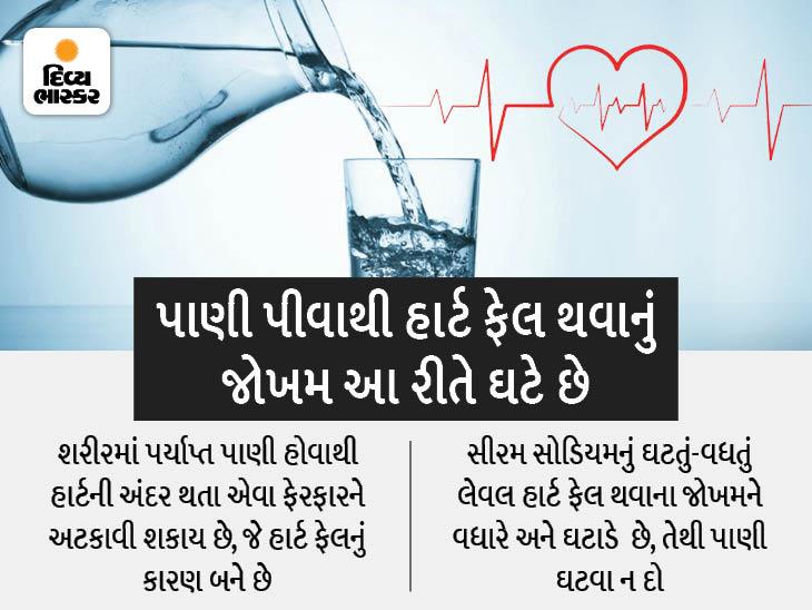 દરરોજ 8 ગ્લાસ પાણી પીવાથી હાર્ટ ફેલ થવાનું જોખમ ઘટે છે, પાણીથી સીરમ સોડિયમને કંટ્રોલ કરીને આ જોખમને વધતા અટકાવી શકાય છે|હેલ્થ,Health - Divya Bhaskar