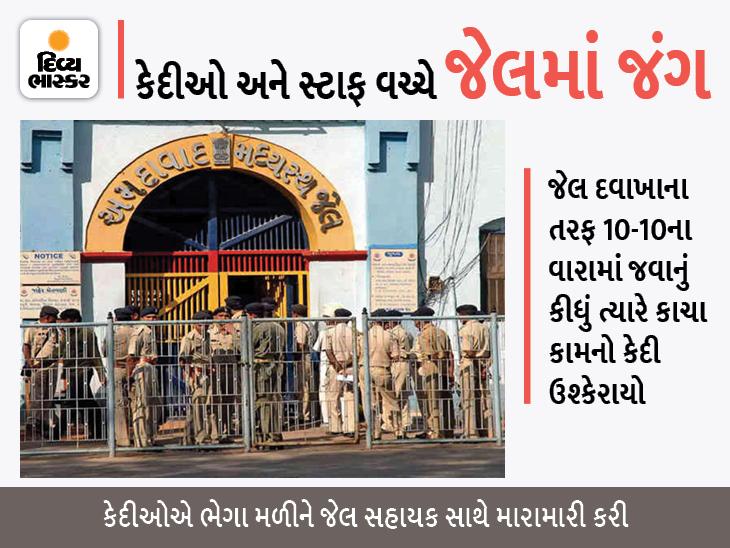 અમદાવાદની સાબરમતી જેલમાં 100 કેદીનો જેલના સ્ટાફ પર હુમલો, જેલ સહાયક સાથે ઝપાઝપી કરી યુનિફોર્મ ફાડ્યો અમદાવાદ,Ahmedabad - Divya Bhaskar