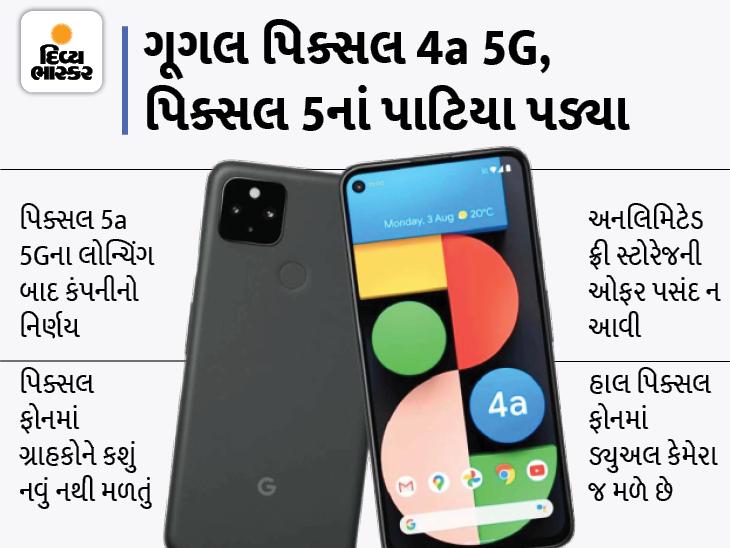 ફ્રી અનલિમિટેડ સ્ટોરેજે પણ ગ્રાહકોને ન આકર્ષ્યા, હવે કંપની 'પિક્સલ 4a 5G' અને 'પિક્સલ 5'નું પ્રોડક્શન બંધ કરશે, ચાઈનીઝ ફોનને લીધે કંપનીને ઝાટકો લાગ્યો|ગેજેટ,Gadgets - Divya Bhaskar