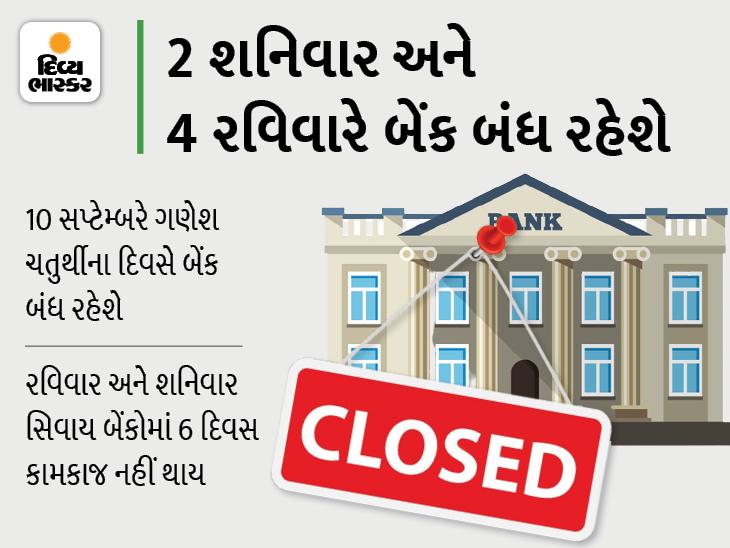 સપ્ટેમ્બરમાં 12 દિવસ બેંક બંધ રહેશે, બેંકમાં કામ હોય તો રજાના આ દિવસો યાદ રાખો|યુટિલિટી,Utility - Divya Bhaskar