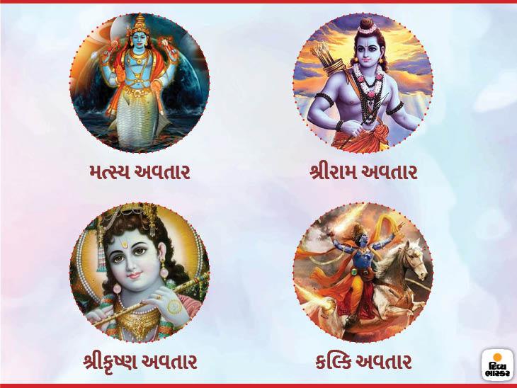 શ્રીકૃષ્ણ વિષ્ણુજીના આઠમાં અવતાર છે, જ્યારે પૃથ્વી જળમગ્ન થઇ હતી, ત્યારે મત્સ્ય અવતાર થયો હતો, કળિયુગના અંતમાં કલ્કિ અવતાર થશે|ધર્મ,Dharm - Divya Bhaskar