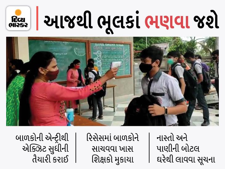 દોઢ વર્ષ બાદ ધોરણ 6થી 8ના ઓફલાઇન વર્ગો શરૂ, વિદ્યાર્થીઓએ કહ્યું, આજે આઝાદી મળી હોય એવું લાગ્યું|અમદાવાદ,Ahmedabad - Divya Bhaskar