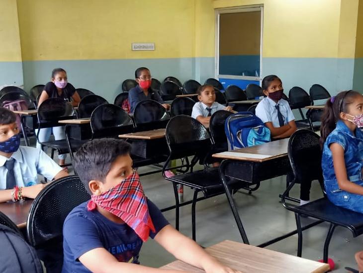 સુરેન્દ્રનગરની શાળામો કોરોના ગાઇડલાઇન પ્રમાણે શાળાઓ શરૂ થઇ. - Divya Bhaskar