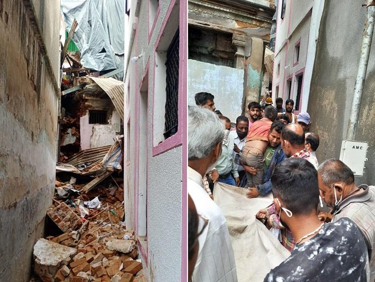 વરસાદના કારણે જર્જરિત થયેલું બે માળનું મકાન ધરાશાયી થયું - Divya Bhaskar