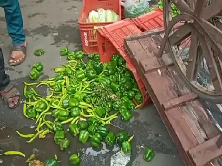 સુરતમાં દબાણ ખાતાના સ્ટાફે શાકભાજીની લારીઓ ઊંધી વાળતા હોબાળો, બંને પક્ષ વચ્ચે ઝપાઝપી બાદ પોલીસે શાક વિક્રેતાઓની અટકાયત કરી|સુરત,Surat - Divya Bhaskar