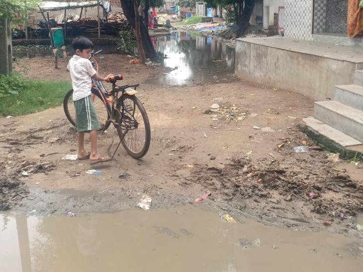 મોટી આદરજના કલ્યાણજીના પરામાં વરસાદી પાણીના ભરાવાથી રોગચાળાની દહેશત. - Divya Bhaskar