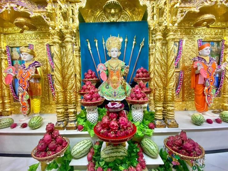 આજે સોમવતી અમાસ અને શ્રાવણના સોમવારનો અનોખો સંયોગ, મણિનગર સ્વામિનારાયણ મંદિરમાં ભગવાનને ડ્રેગન ફ્રૂટનો મનોરથ ધરાવાયો|અમદાવાદ,Ahmedabad - Divya Bhaskar