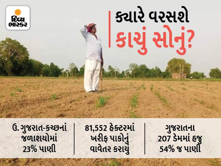 ગુજરાતમાં વરસાદ ખેંચાતાં ખેડૂતો માટે એક-એક દિવસ ભારે, હવે મેઘરાજાએ વધુ રાહ જોવડાવી તો ખેતી અને પીવાના પાણીની ગંભીર સ્થિતિ સર્જાશે|અમદાવાદ,Ahmedabad - Divya Bhaskar